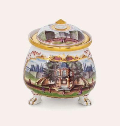 A MEISSEN CREAM-POT AND COVER