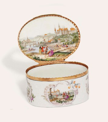 A MEISSEN ROSE-GOLD-MOUNTED OV