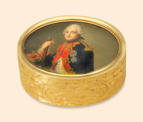 A GERMAN GOLD SNUFF-BOX SET WI
