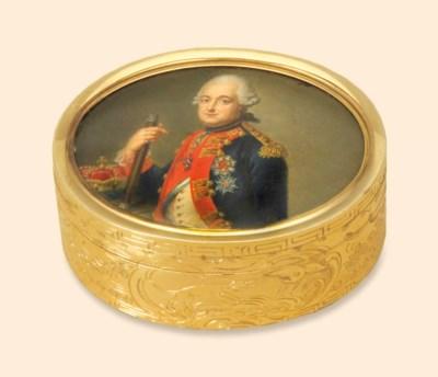 A GERMAN GOLD SNUFF-BOX SET WI