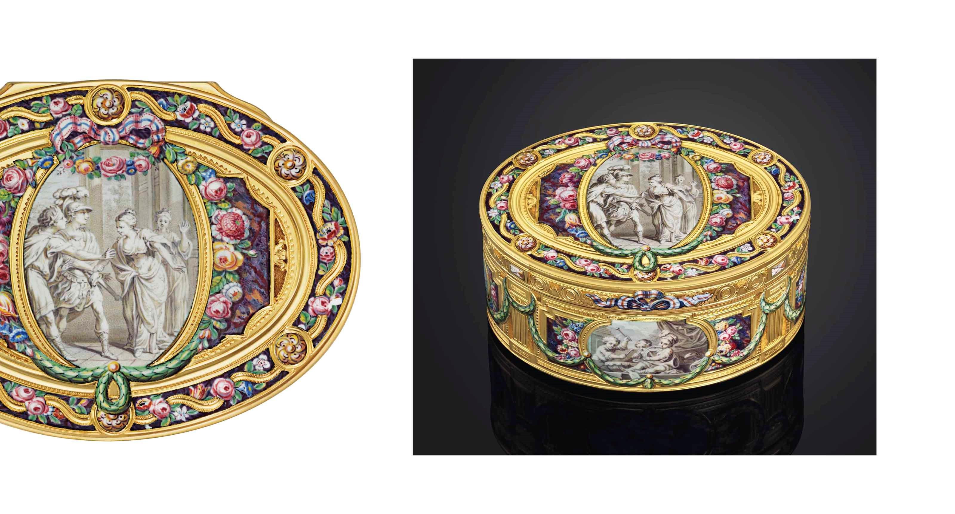 非常重要路易十五世珐琅黄金鼻烟盒,制作金匠为Louis Charonnat (活跃于1748-1780),约1767-1768年间制于巴黎,印有Jean-Jacques Prevost 1762-1768年间的生产金标,以及Julien Alaterre 1768-1774年间的流通金标,鼻烟盒的珐琅工艺由Charles-Jacques de Mailly (1740-1817) 完成。宽3⅜吋 (8.5公分)。此拍品于2013年11月26至27日在佳士得伦敦以506,500英镑成交。