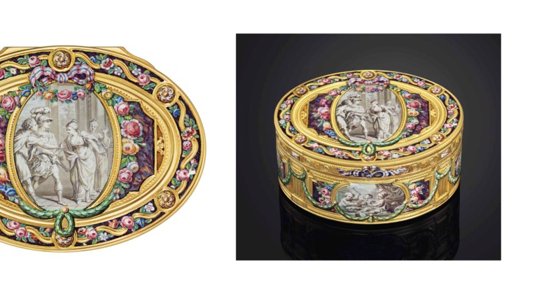 A highly important Louis XV enamelled gold snuff-box, by Louis Charonnat (1748-1780), Paris, 17671768. 3⅜  in (85  mm) wide. Sold for £506,500 on 26-27 November 2013 at Christie's in London