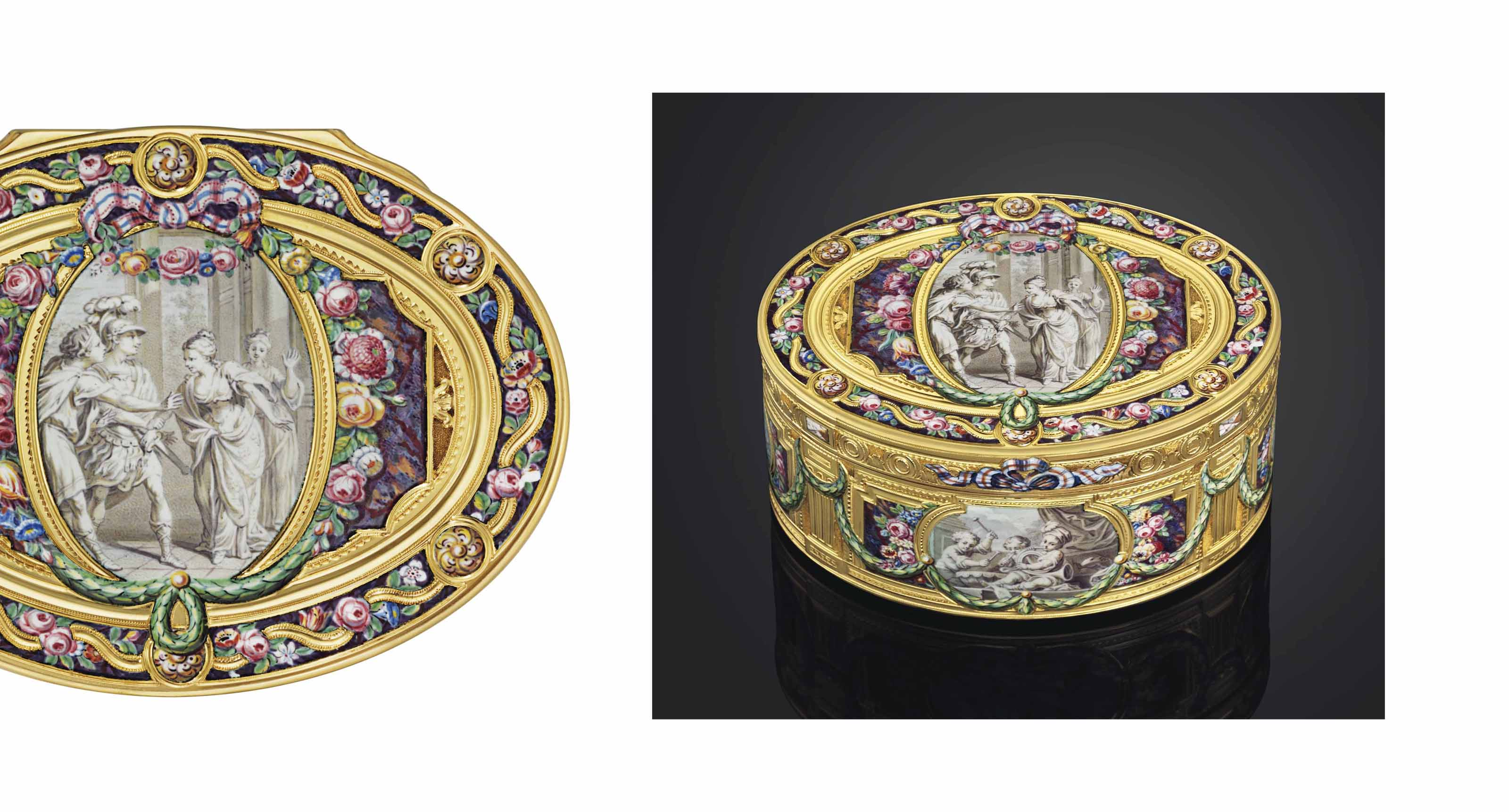 A HIGHLY IMPORTANT LOUIS XV ENAMELLED GOLD SNUFF-BOX