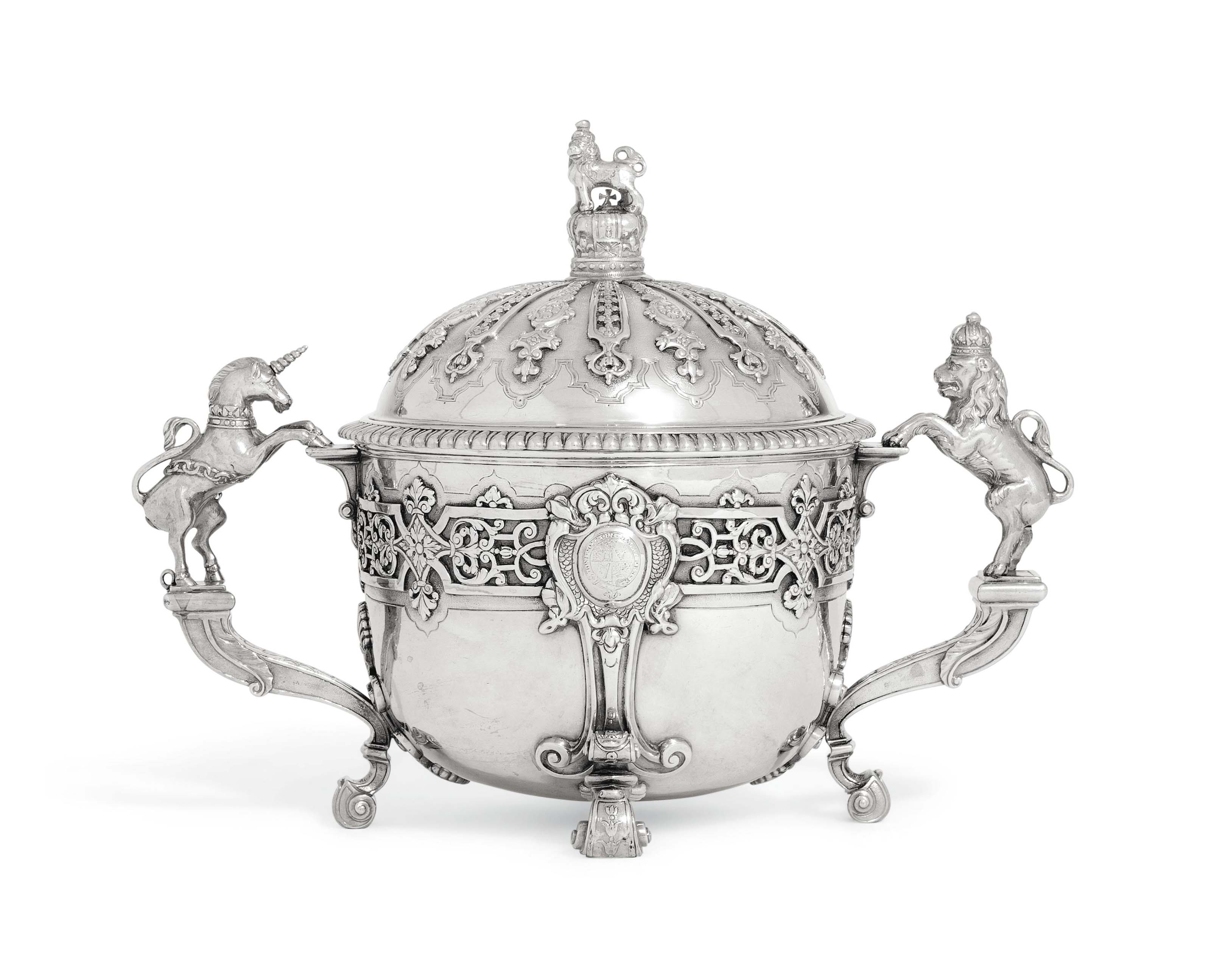 A GEORGE II SILVER CHRISTENING BOWL AND COVER