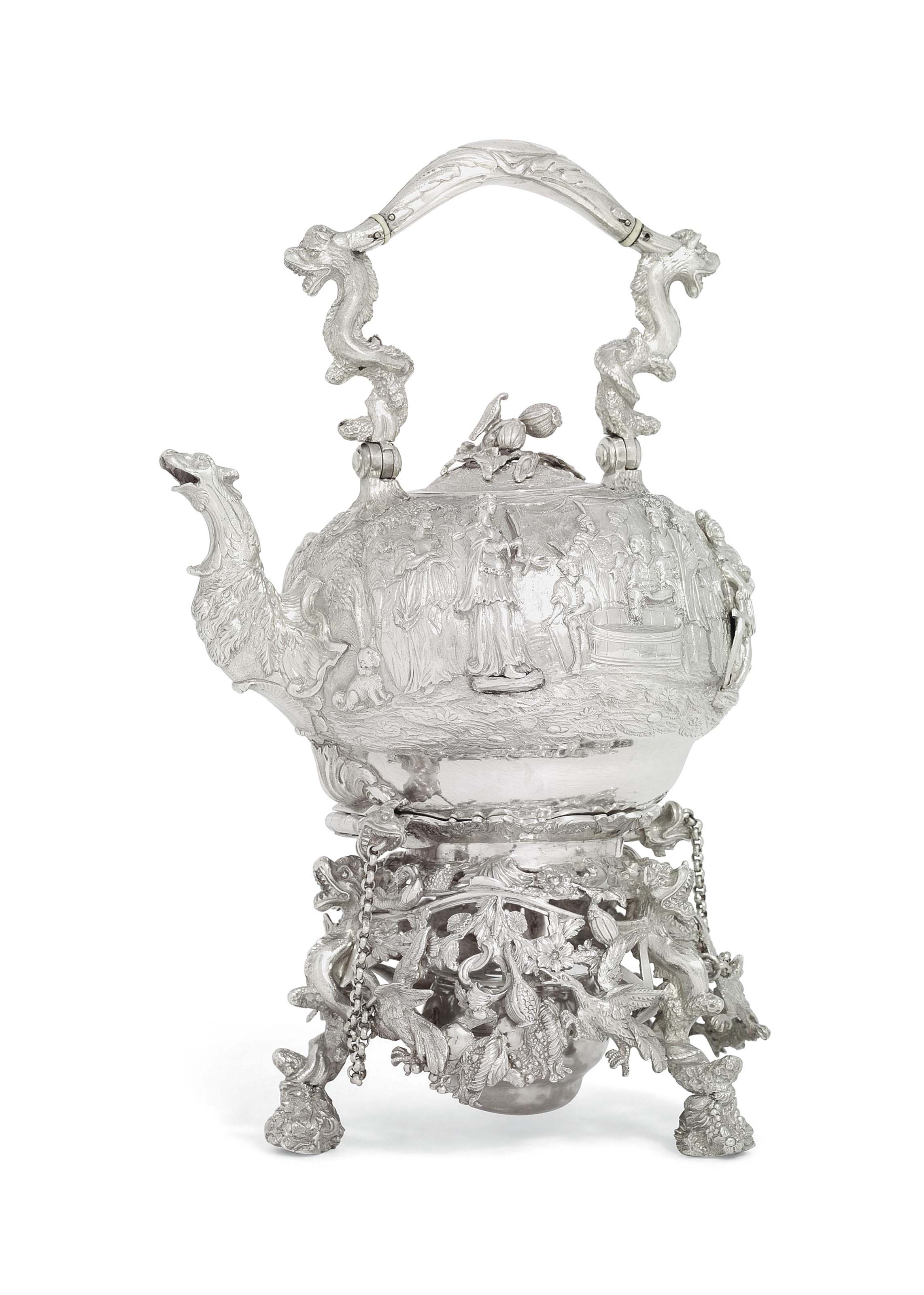 A GEORGE III SILVER KETTLE AND STAND