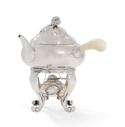 A DANISH KETTLE, STAND AND LAM