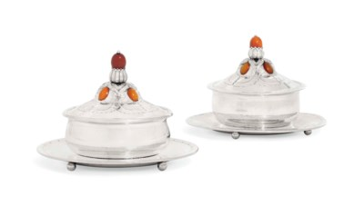 A PAIR OF DANISH BUTTER-DISHES
