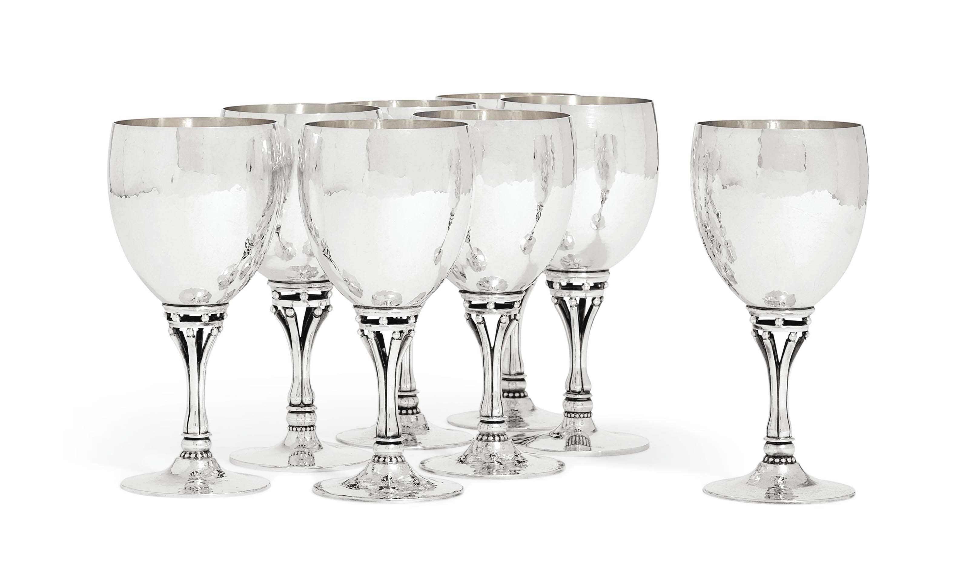 A SET OF EIGHT DANISH GOBLETS
