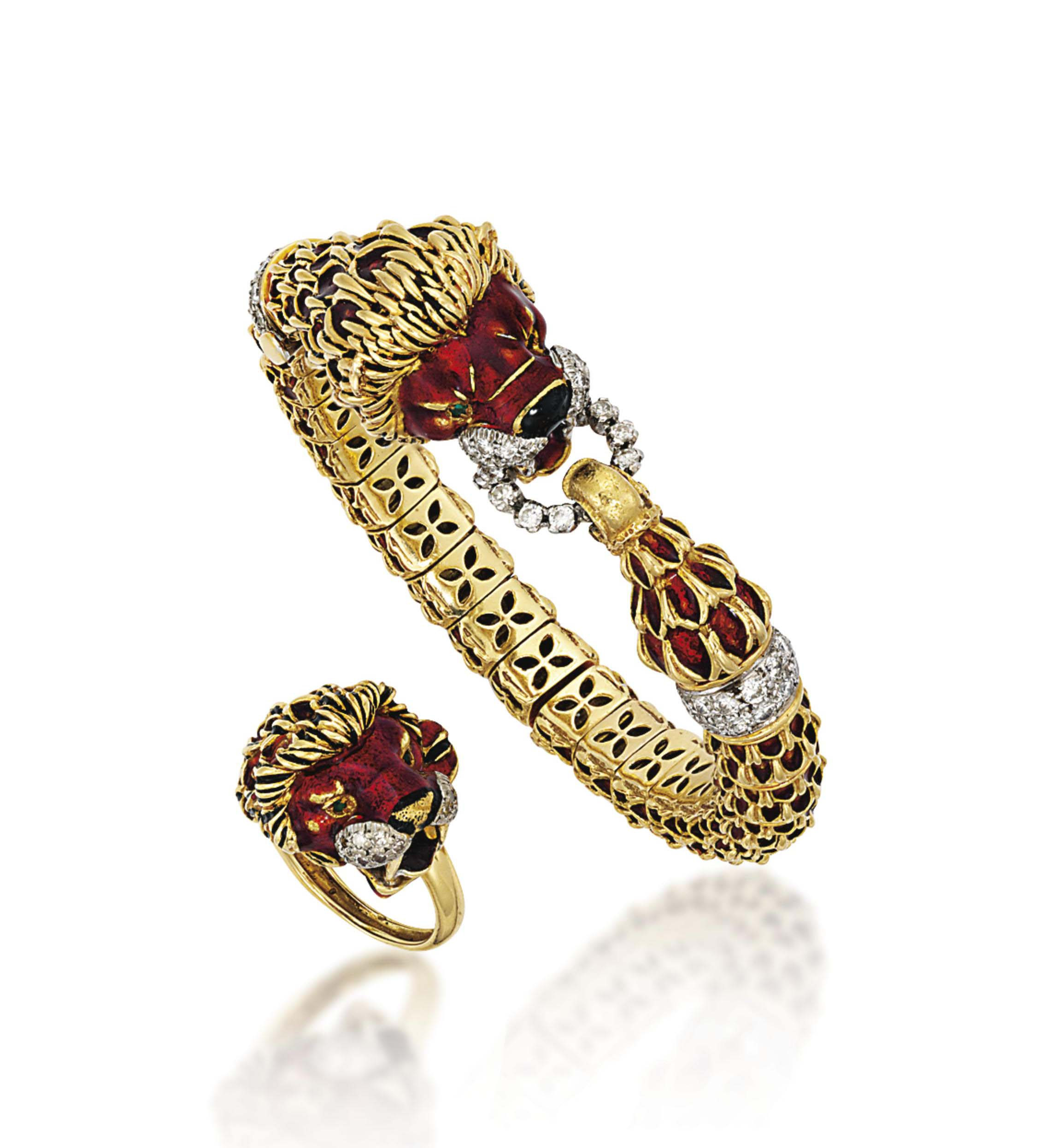 AN 18 CARAT GOLD ENAMEL AND DIAMOND BANGLE AND RING, BY KUTCHINSKY