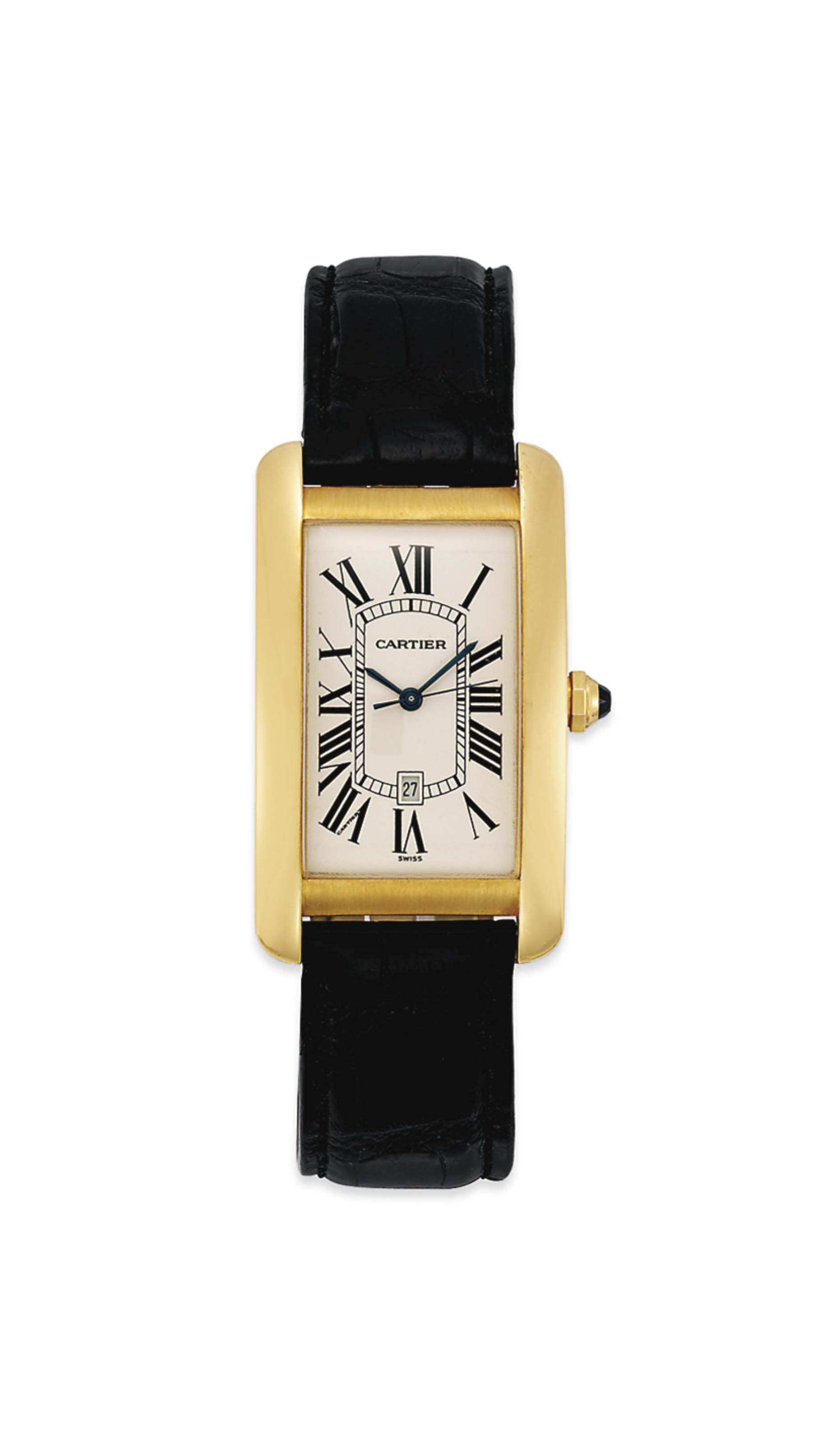 18 Carat Rose Gold: AN 18 CARAT GOLD 'TANK AMERICAINE' WRISTWATCH, BY CARTIER