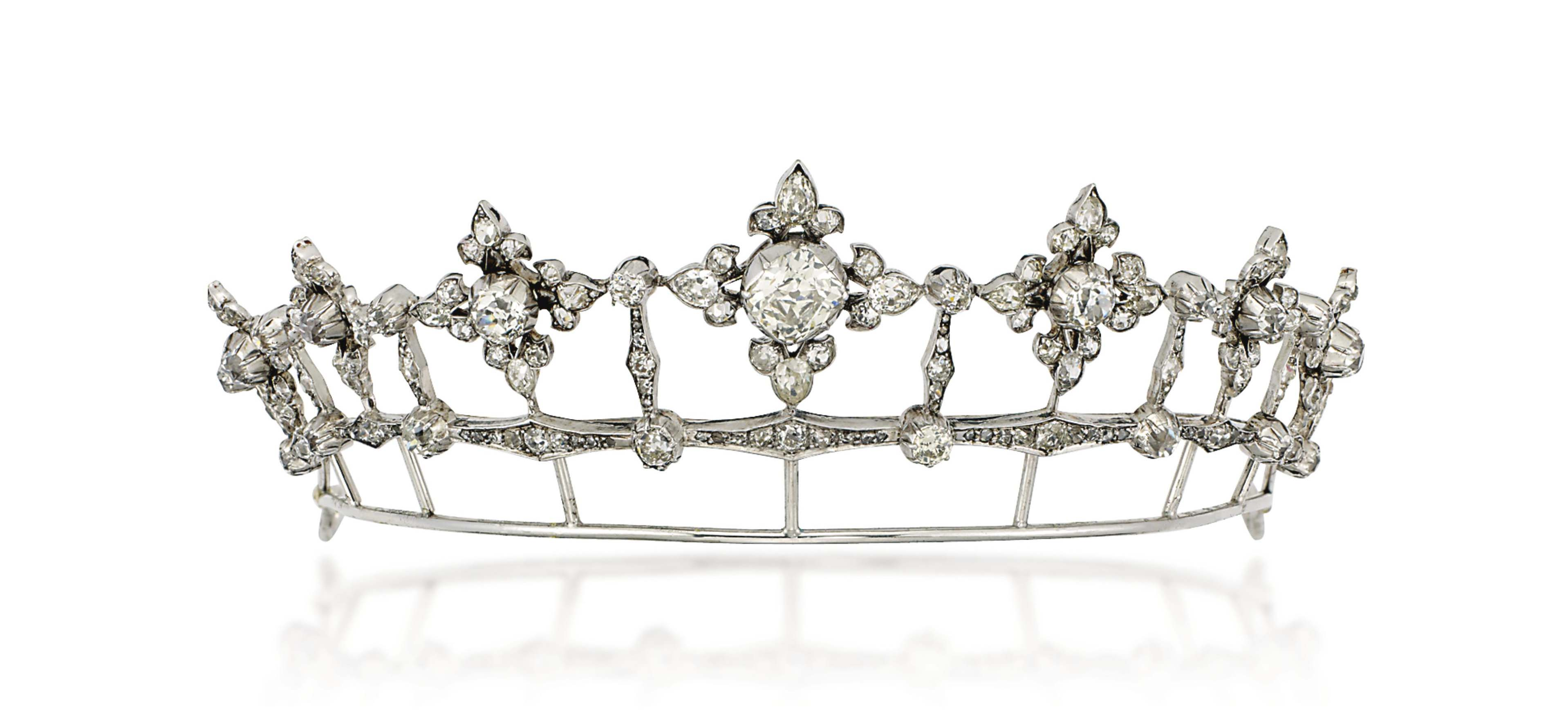 A 19TH CENTURY DIAMOND TIARA