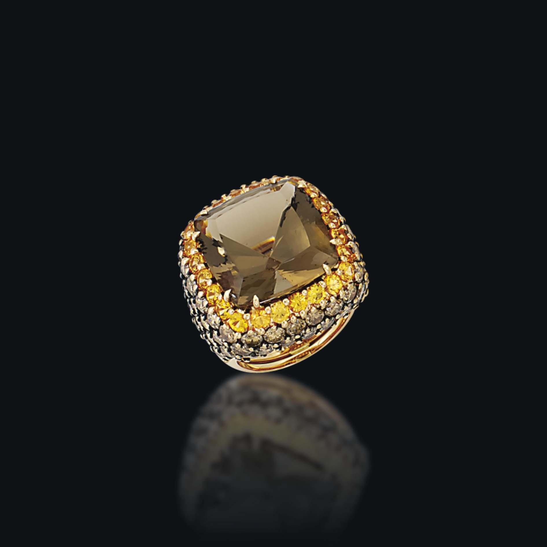 A SMOKEY QUARTZ, SAPPHIRE AND DIAMOND COCKTAIL RING, BY MARGHERITA BURGENER