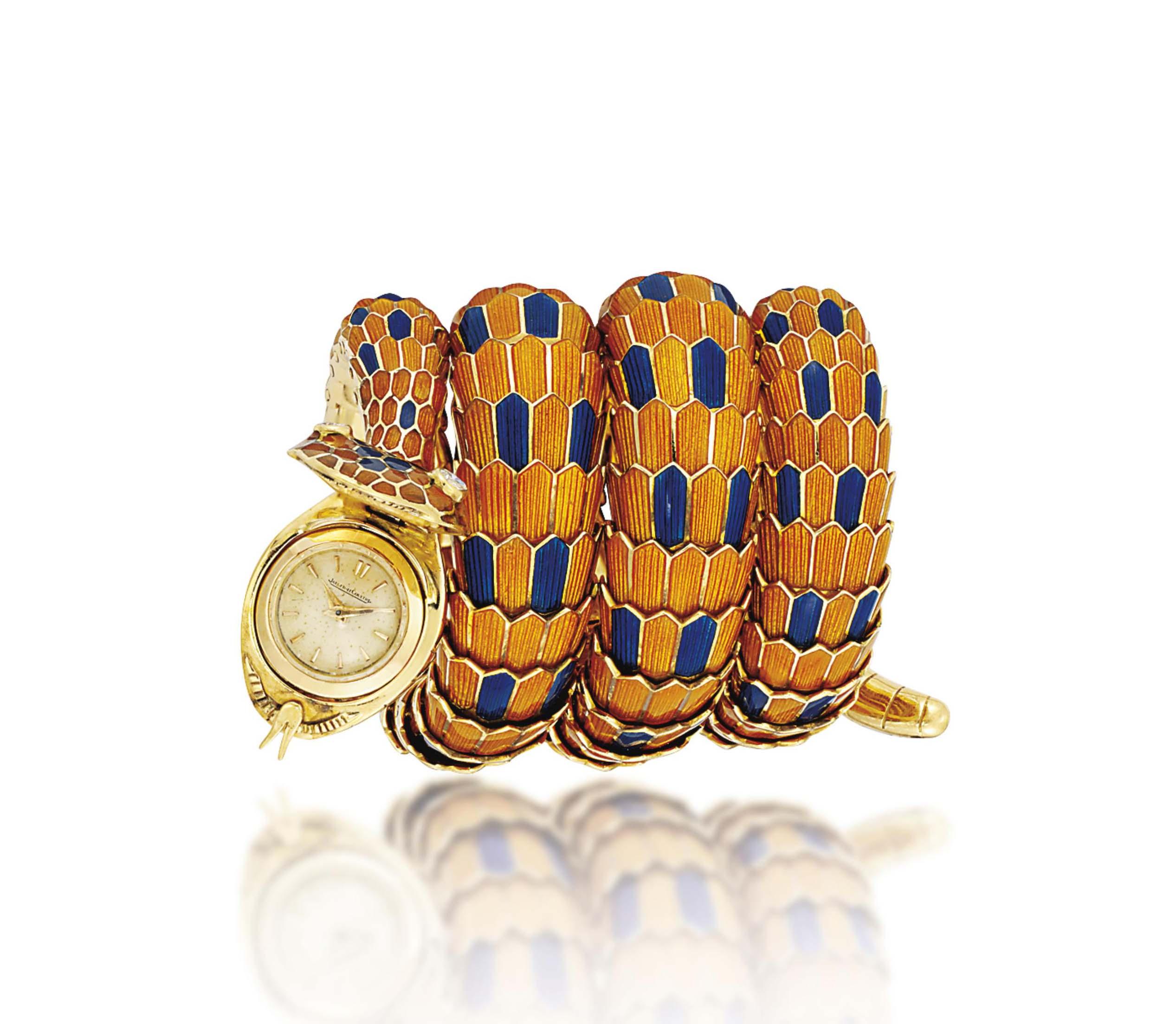 A RARE ENAMEL AND DIAMOND SNAKE WRISTWATCH, BY BULGARI