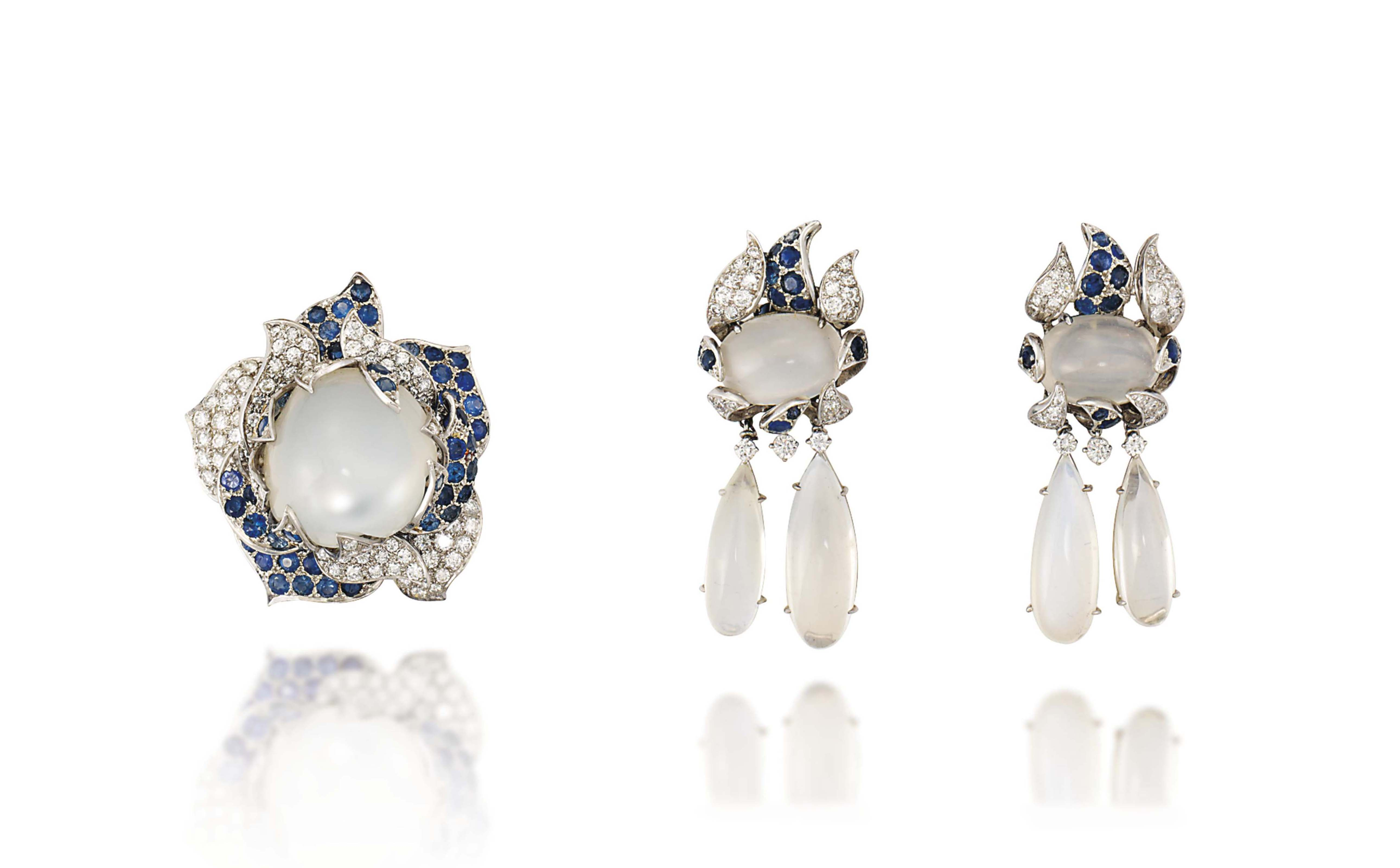 A SUITE OF MOONSTONE, SAPPHIRE AND DIAMOND JEWELLERY, BY VERDURA