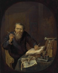A notary sharpening his pen, in an interior