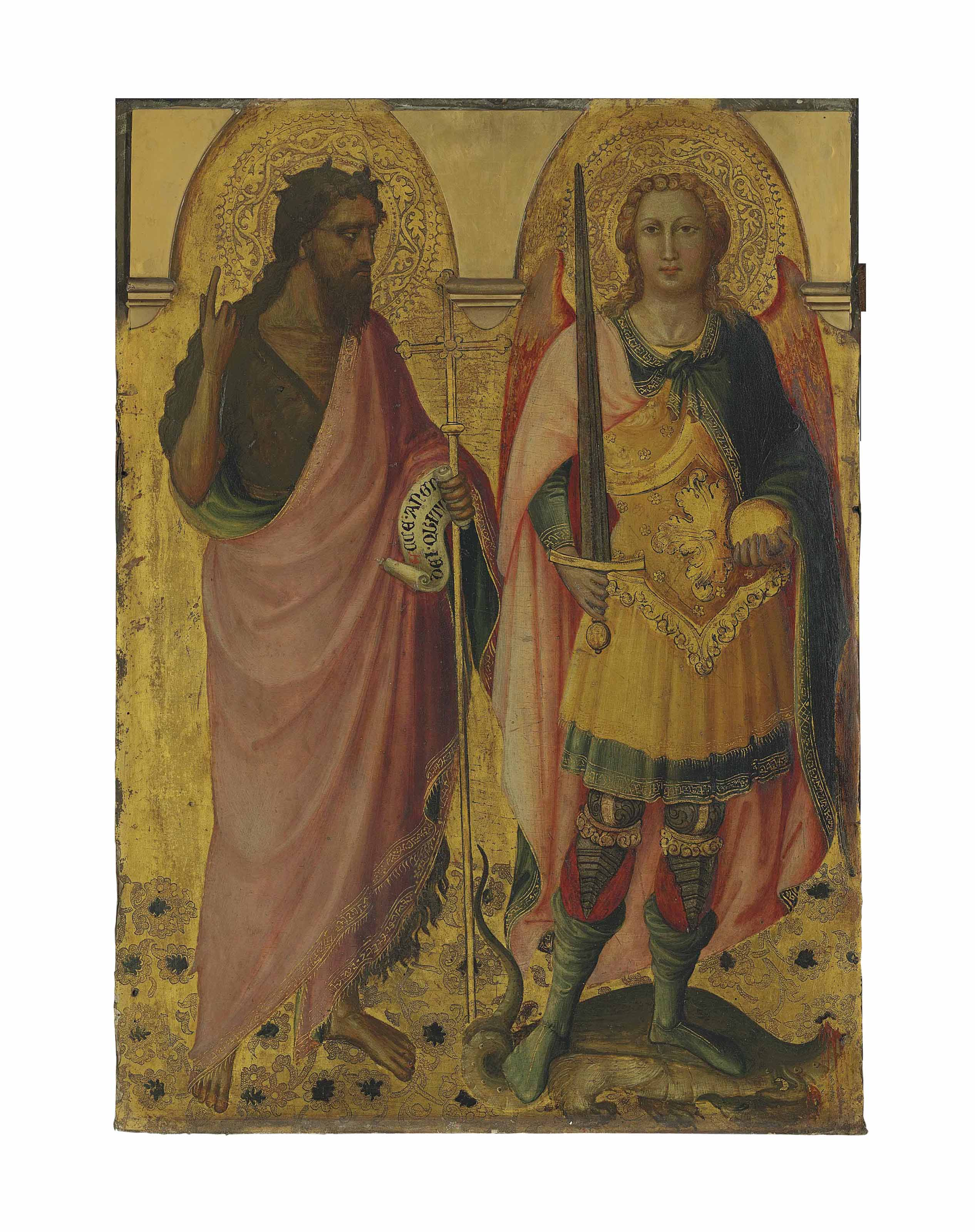 Saint John the Baptist and Saint Michael - left panel of the main tier of a polyptych