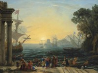 A Mediterranean port at sunrise with the Embarkation of Saint Paula for Jerusalem
