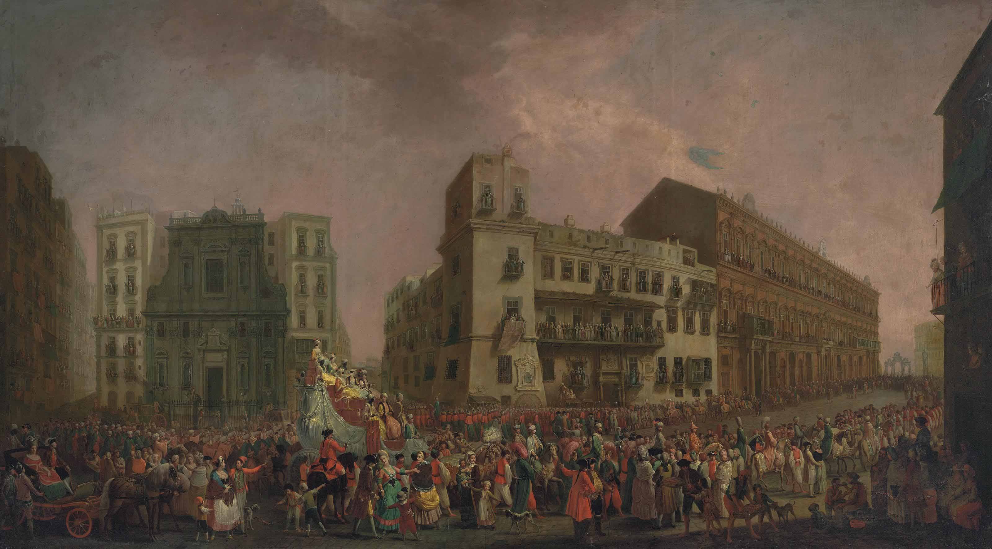 The Carnival in Naples in 1778, with the 'Cavalcata turca' parading through the Largo di Palazzo
