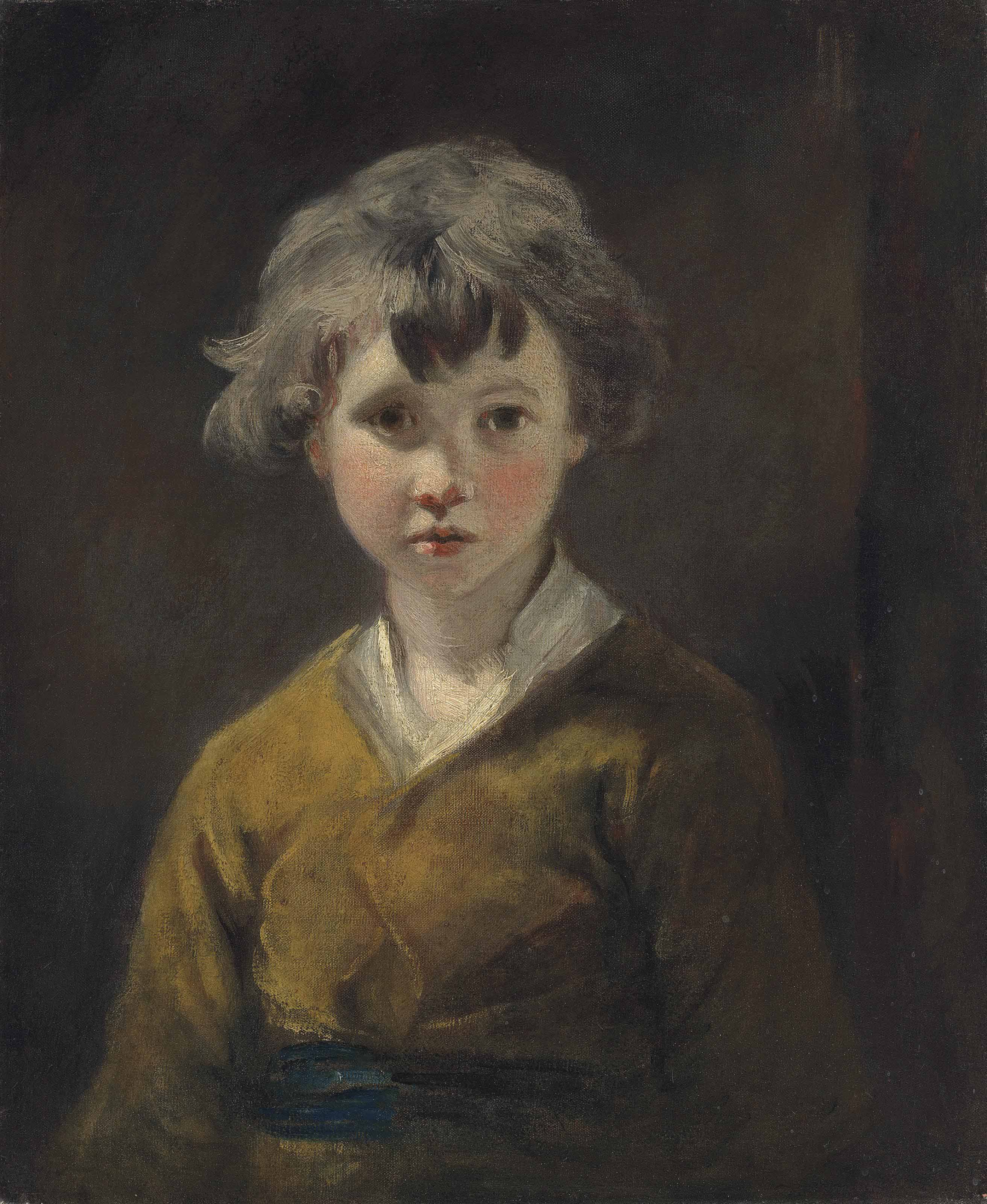 Edwin: Study of a young boy, half-length, in a brown coat, white shirt and blue sash