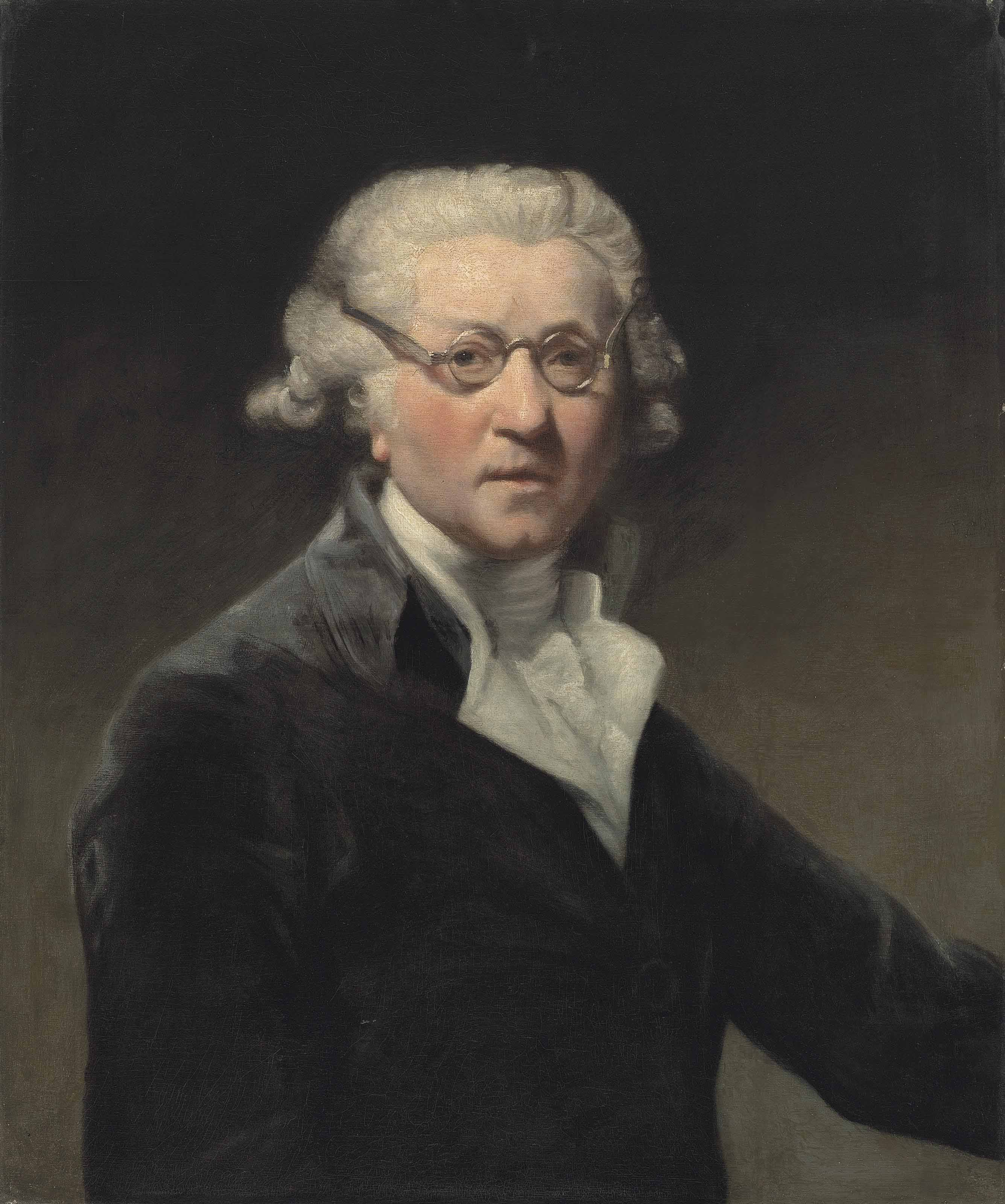 Portrait of the artist, half-length, in a dark green coat, with a white cravat and spectacles