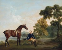 James Hamilton, 2nd Earl of Clanbrassil (1730-1798), with his bay hunter Mowbray, resting on a wooded path by a lake