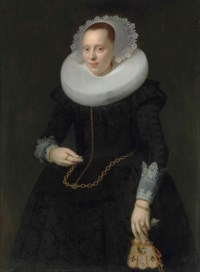 Portrait of a lady, three-quarter-length, in a black embroidered dress, ruff and lace cuffs, holding a pair of embroidered gloves