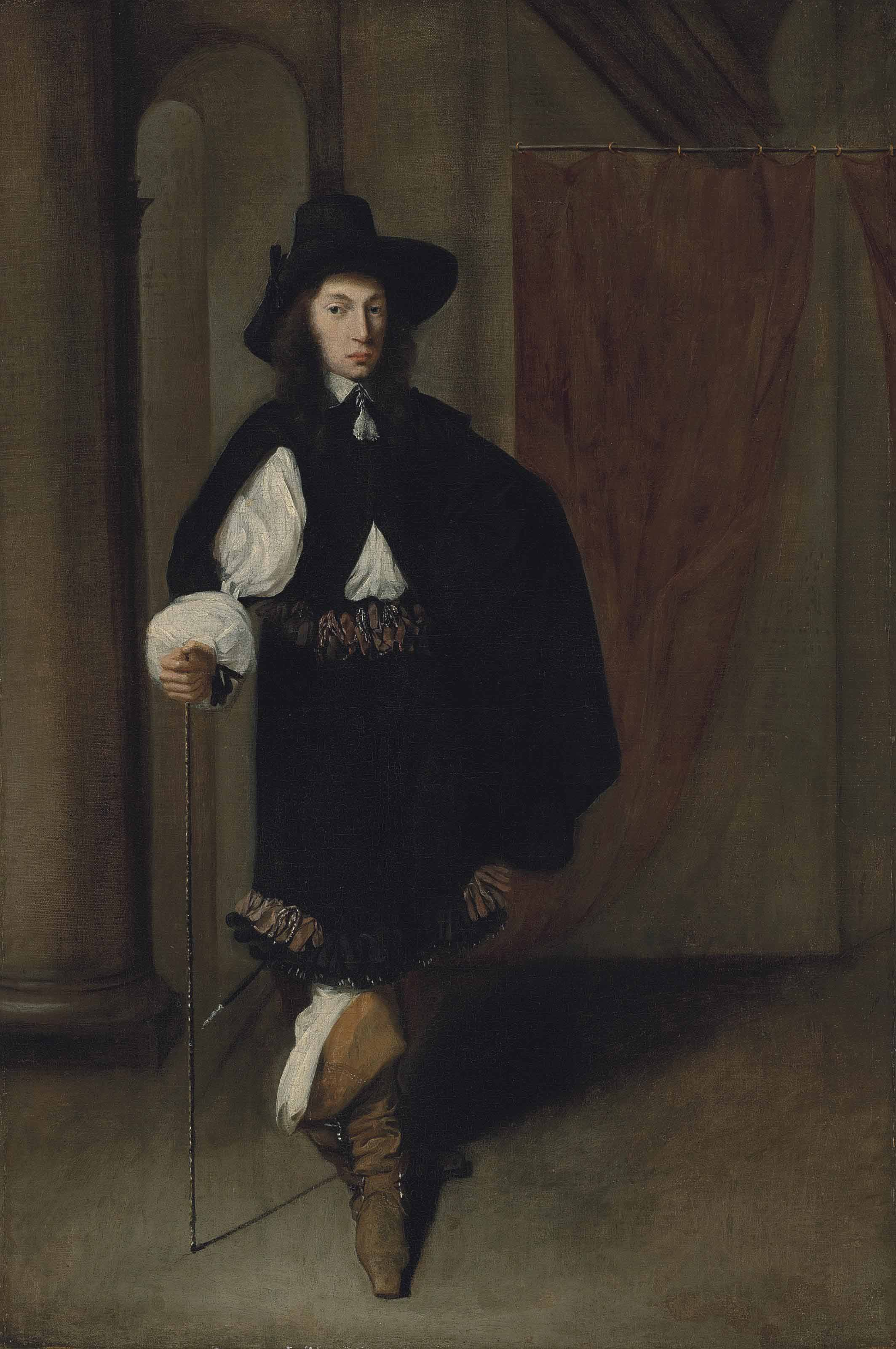 Portrait of a gentleman, full-length, in a black coat and hat holding a cane in his right hand, in a draped, colonnaded interior
