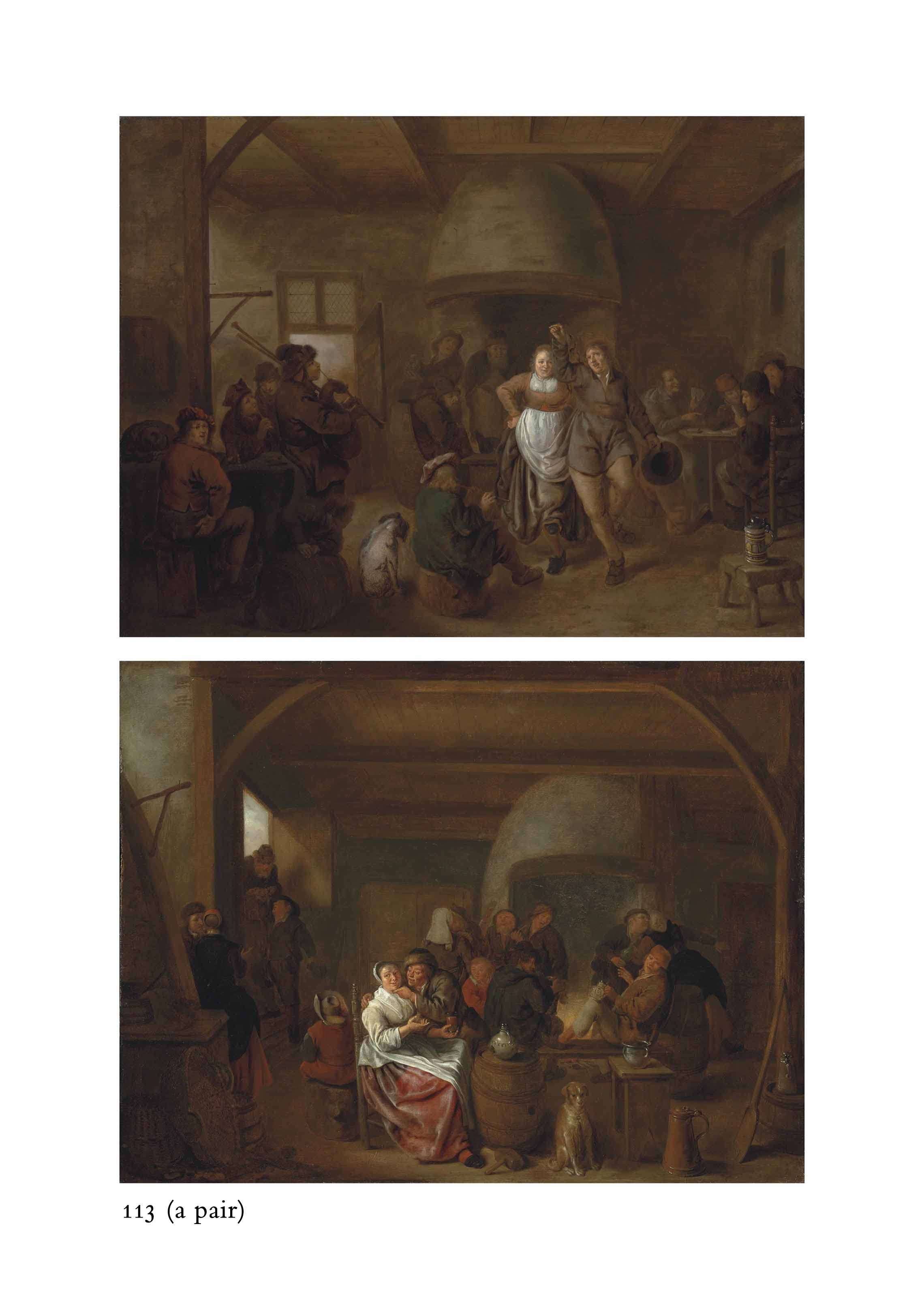 A tavern interior with a bagpiper, a couple dancing, and figures playing cards; and A tavern interior with figures merrymaking and carousing