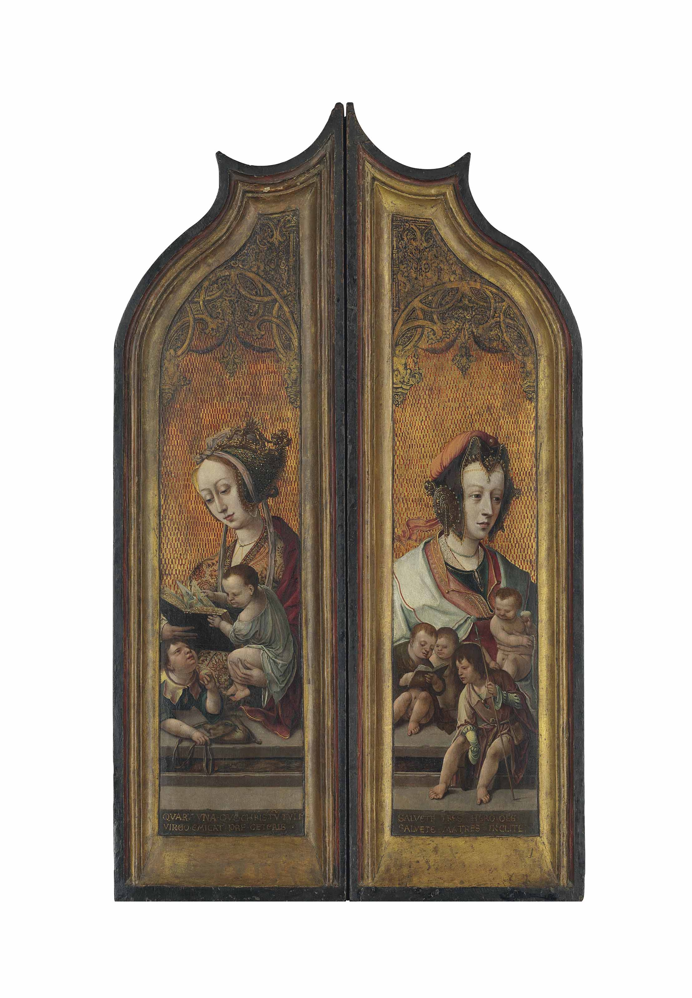 The wings of a triptych: verso: Mary Salome with the Infants Saint James the Greater and John the Evangelist; and Mary Cleophas with her four sons Saints James the Lesser, Joses, Jude and Simon; recto: Adam and Eve at the Tree of Wisdom