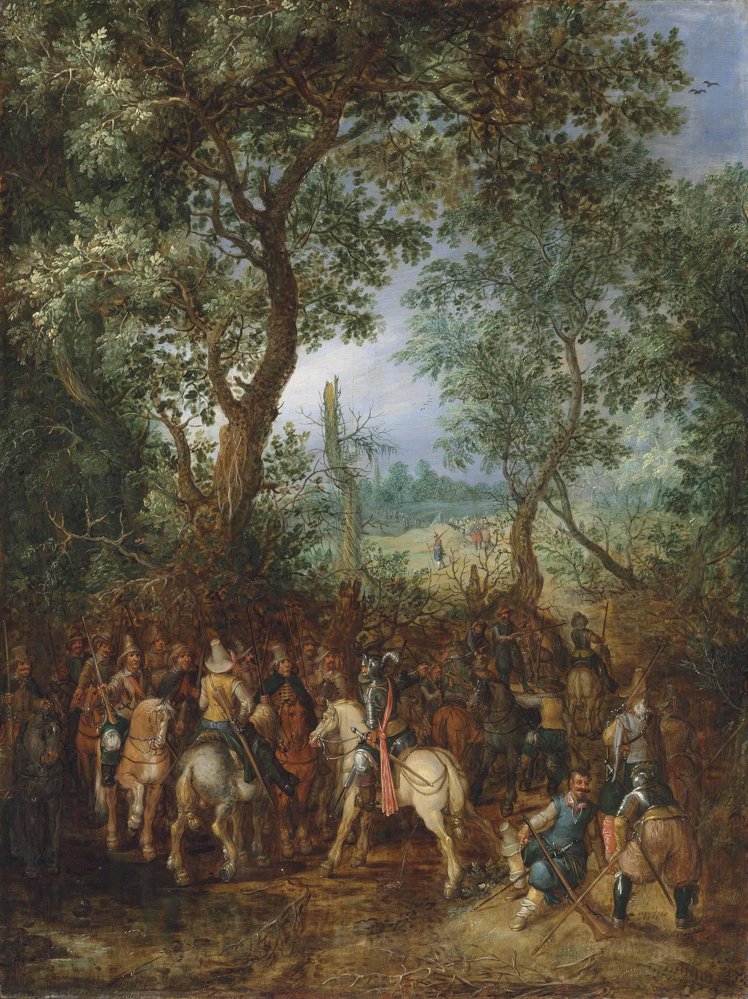 A wooded landscape with cavaliers at the edge of a forest preparing an ambush