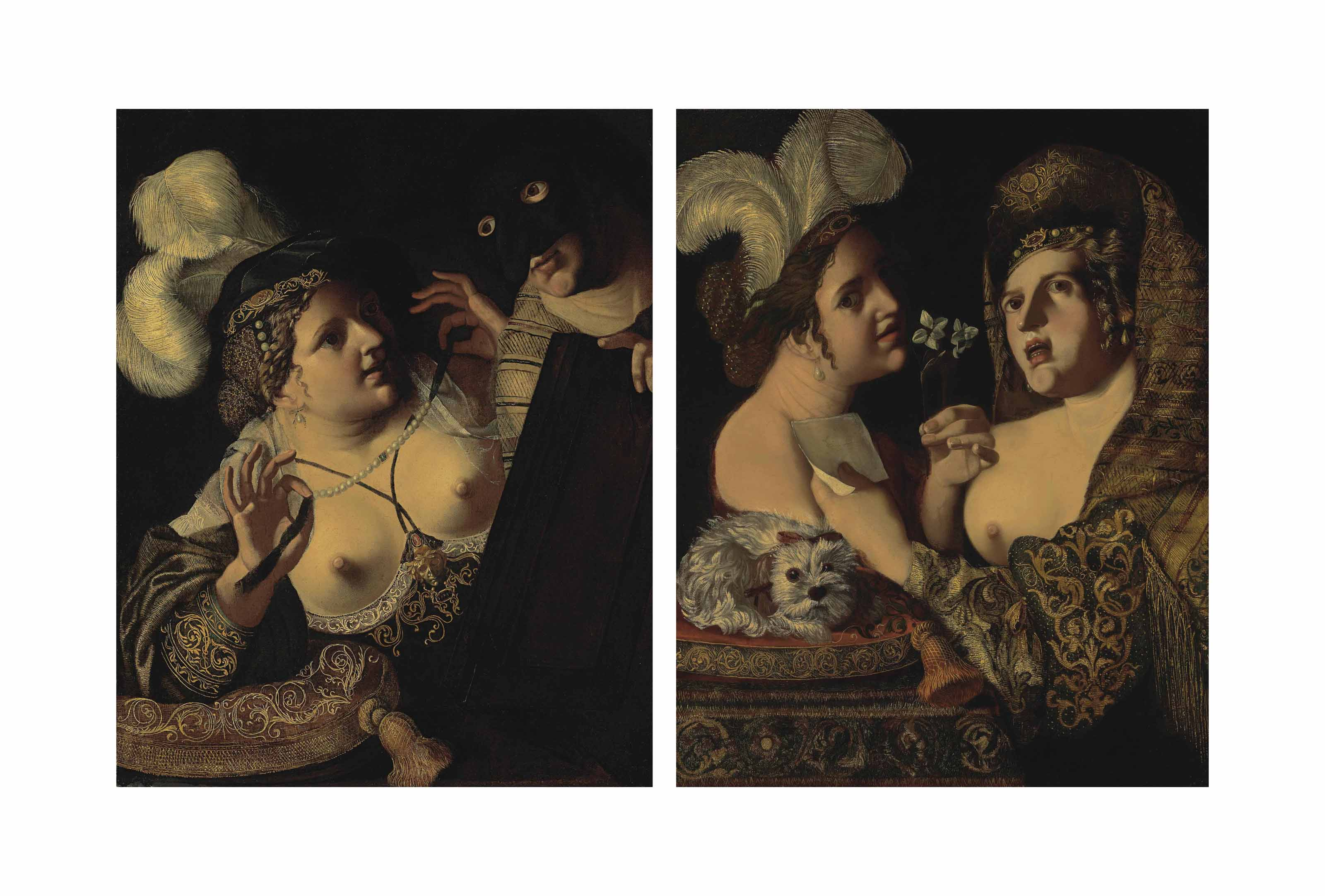An allegory of the sense of smell and hearing; and An allegory of the sense of sight