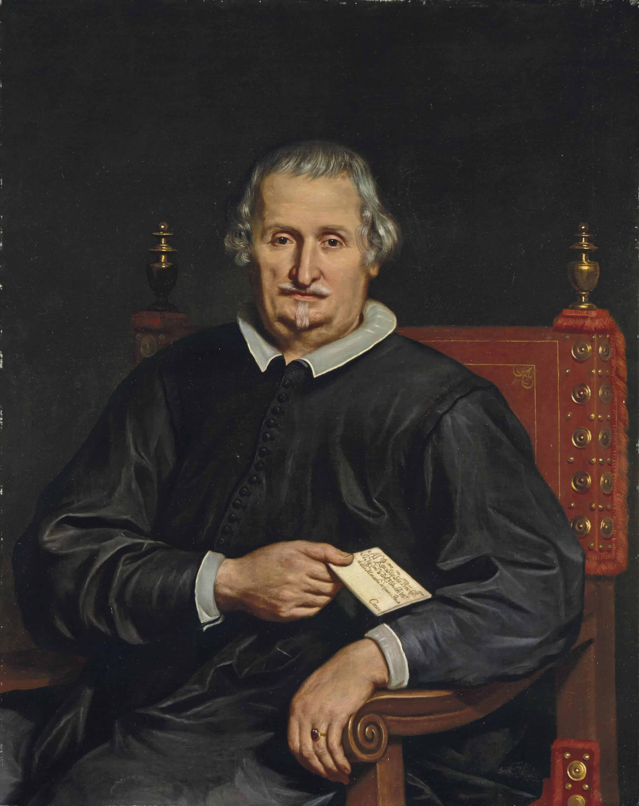 Portrait of a clergyman, half-length, in black robes, holding a letter