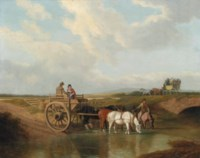 A landscape with a cart at a ford, with horses watering, a coach beyond