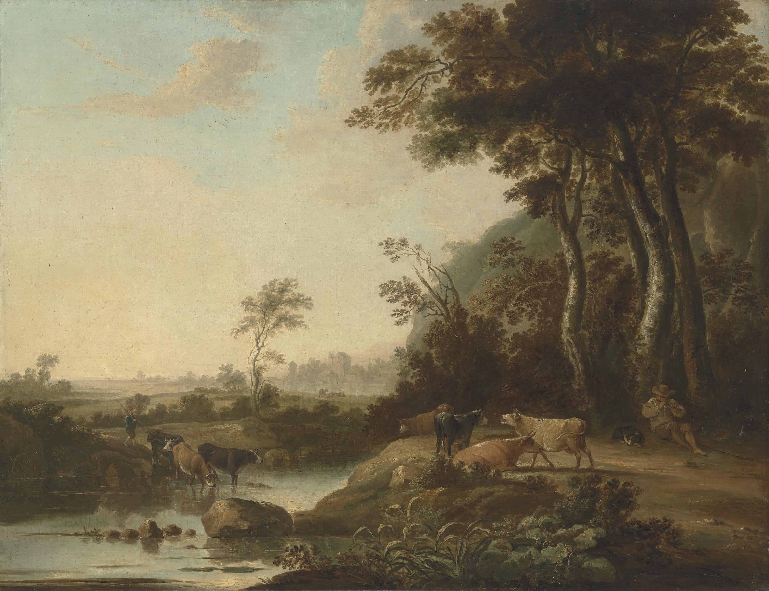 A wooded landscape with a herdsman and his cattle by a stream, a village beyond