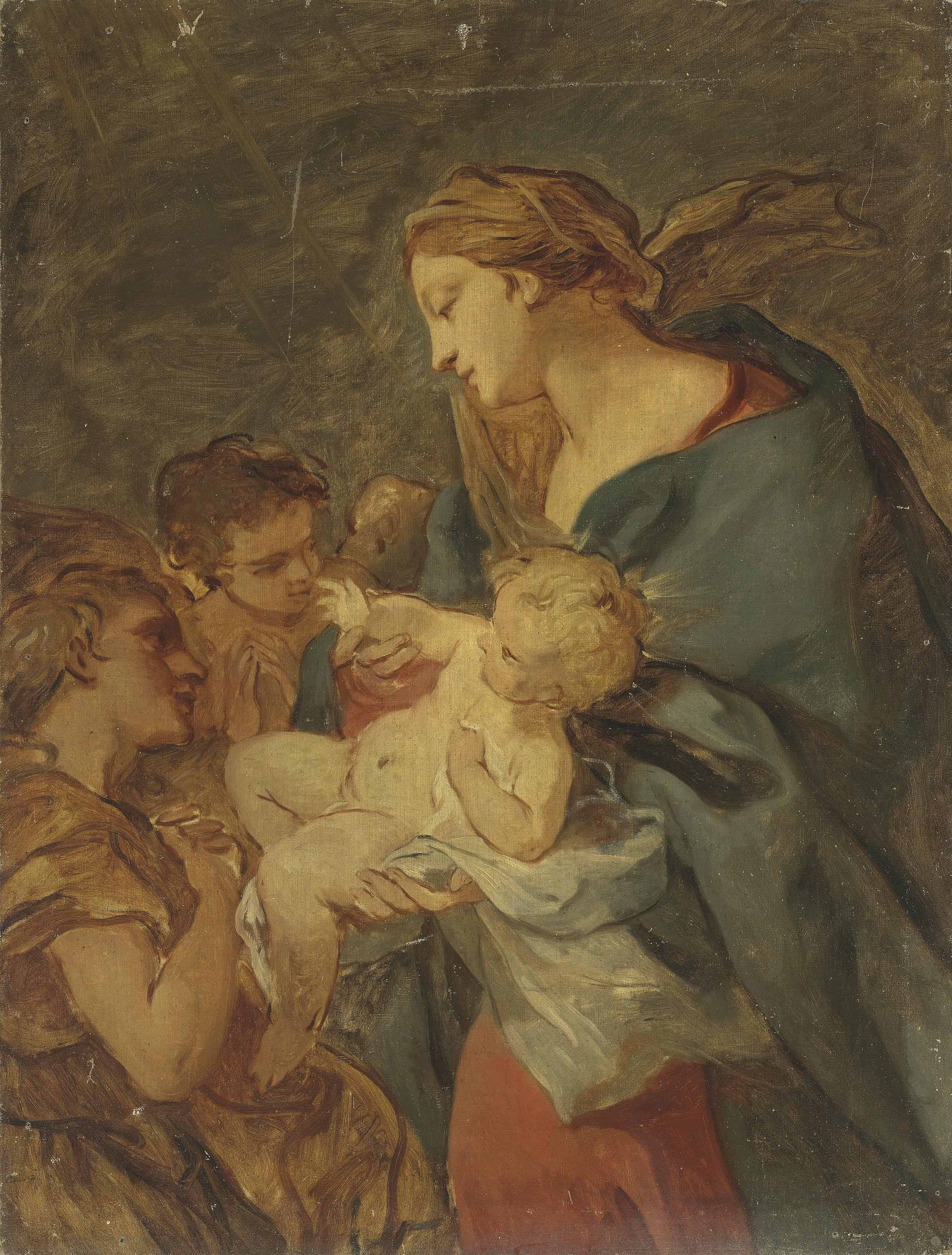 The Virgin and Child with attending angels