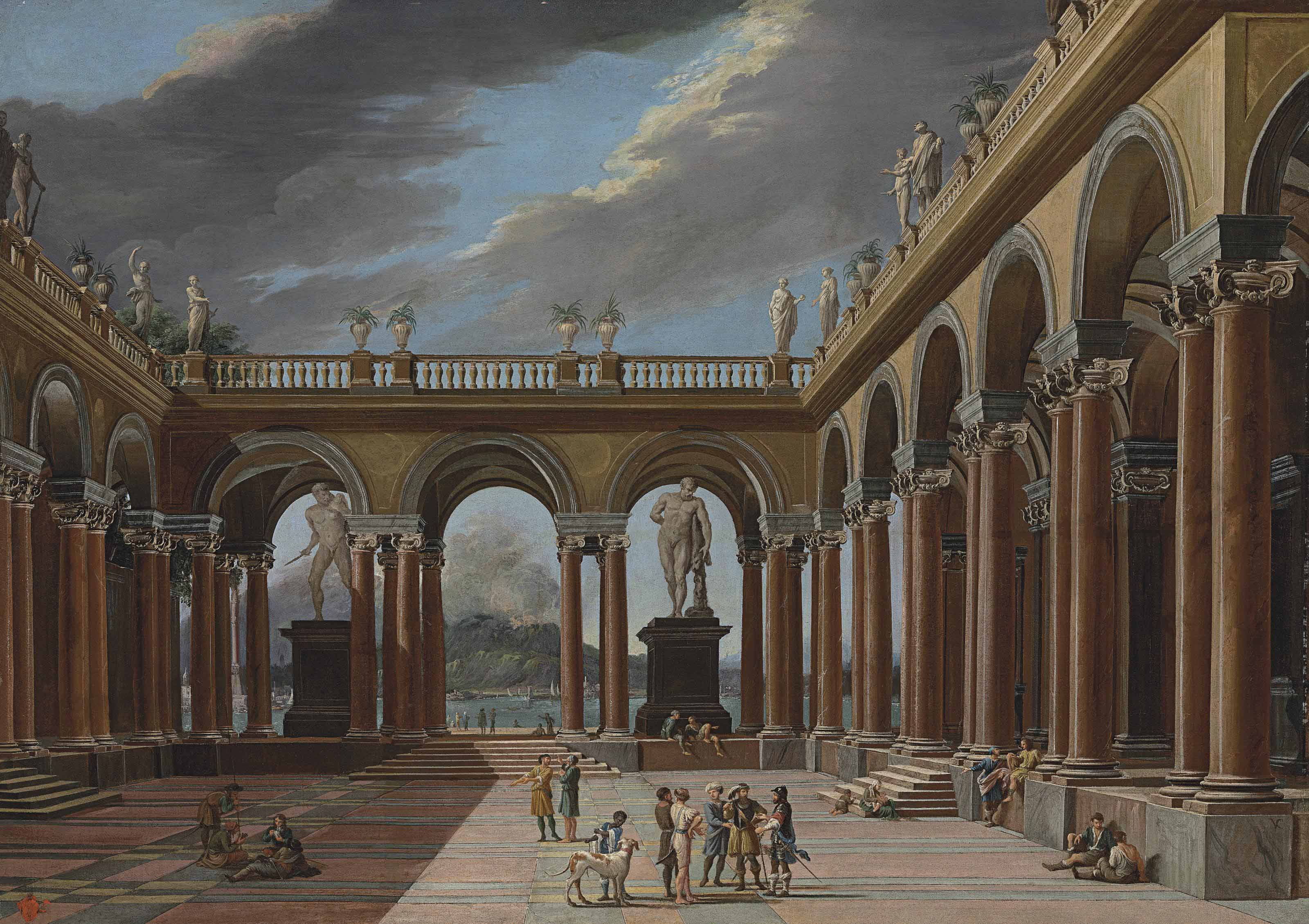 An architectural capriccio of a loggia with elegantly-dressed figures, the sea and mountains beyond