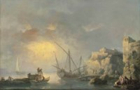 A coastal landscape with stevedores unloading a ship and fishermen throwing out their nets at sunrise, other figures on the shore by a fortress, possibly the Castello di Baja