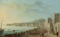 A view of the Bay of Naples from the East, with hussars parading along the harbour