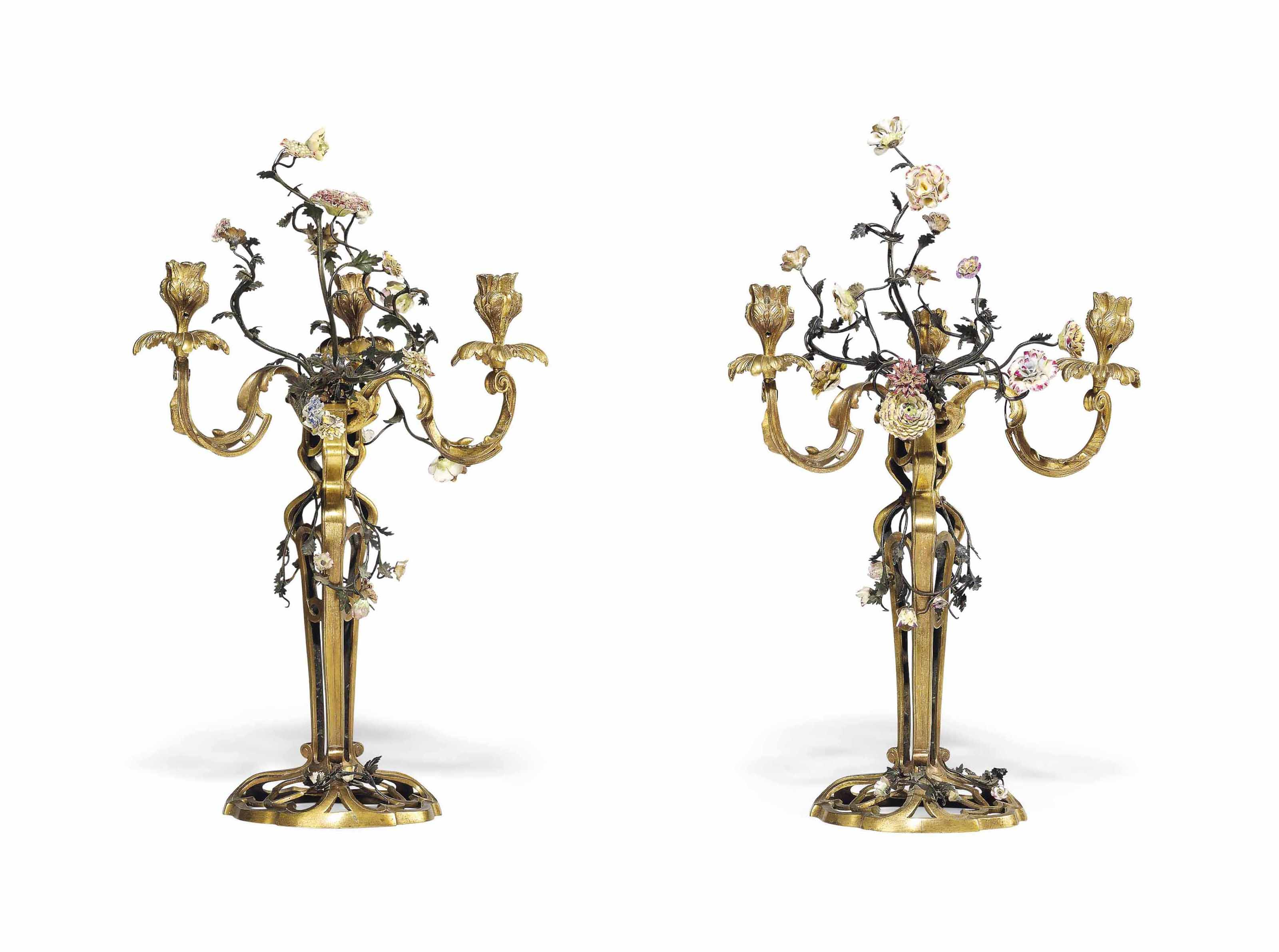 A PAIR OF FRENCH ORMOLU, TOLE