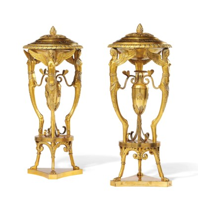 A PAIR OF RUSSIAN ORMOLU INCEN