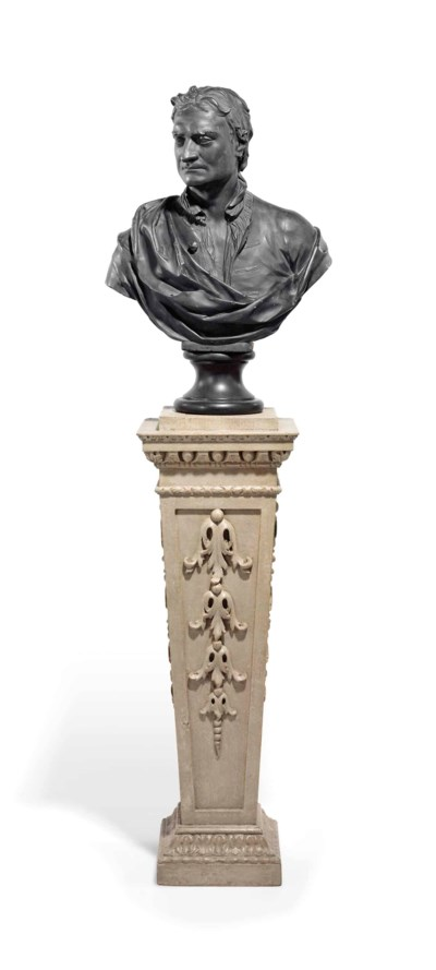 A BRONZED PLASTER BUST OF SIR