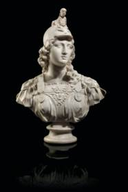 A CARVED MARBLE BUST OF MINERV