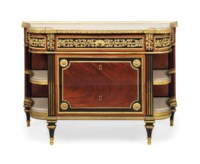 A LOUIS XVI ORMOLU-MOUNTED AND EBONY-BANDED MAHOGANY COMMODE A L'ANGLAISE