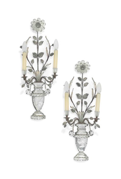 A PAIR OF FRENCH SILVERED-META