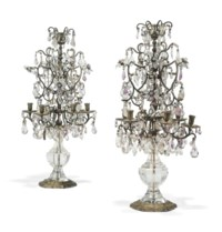 A PAIR OF LOUIS XV STYLE SILVERED-METAL, ROCK-CRYSTAL AMETHYST AND CUT-GLASS SEVEN-LIGHT CANDELABRA