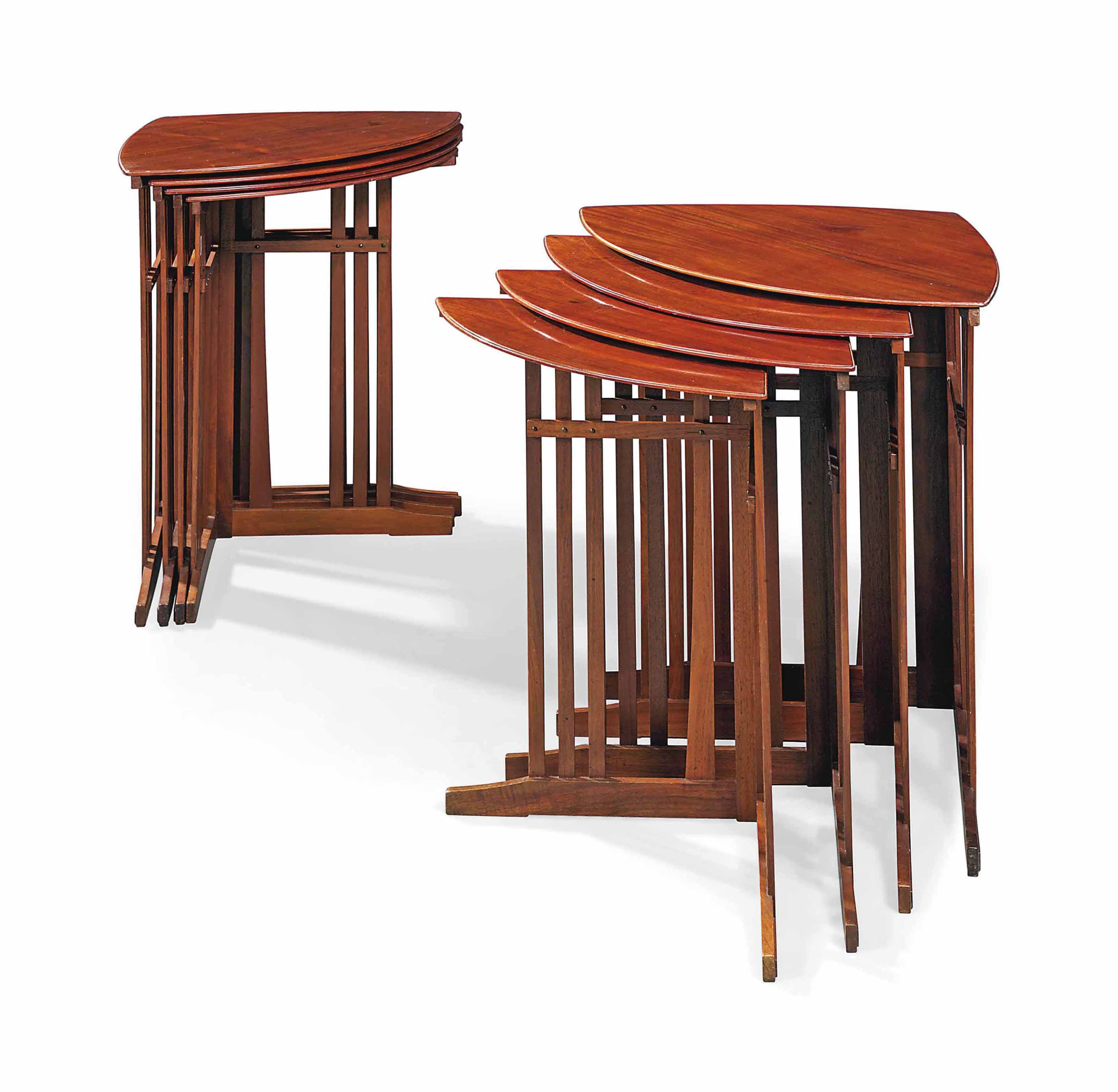 TWO SETS OF ART NOUVEAU MAHOGANY QUARTETTO TABLES