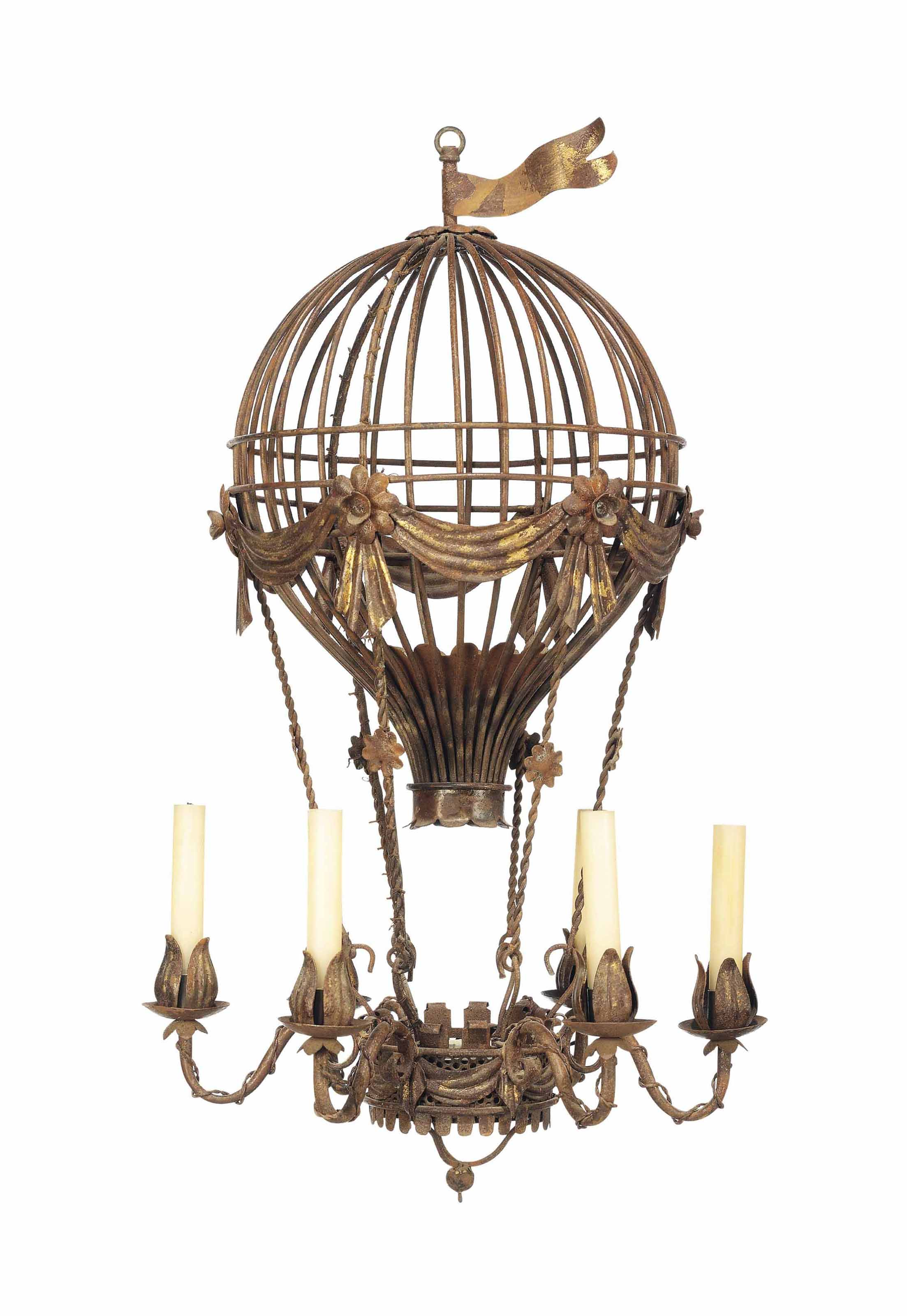 A french parcel gilt and tole peinte montgolfier chandelier mid lot 151 aloadofball Choice Image
