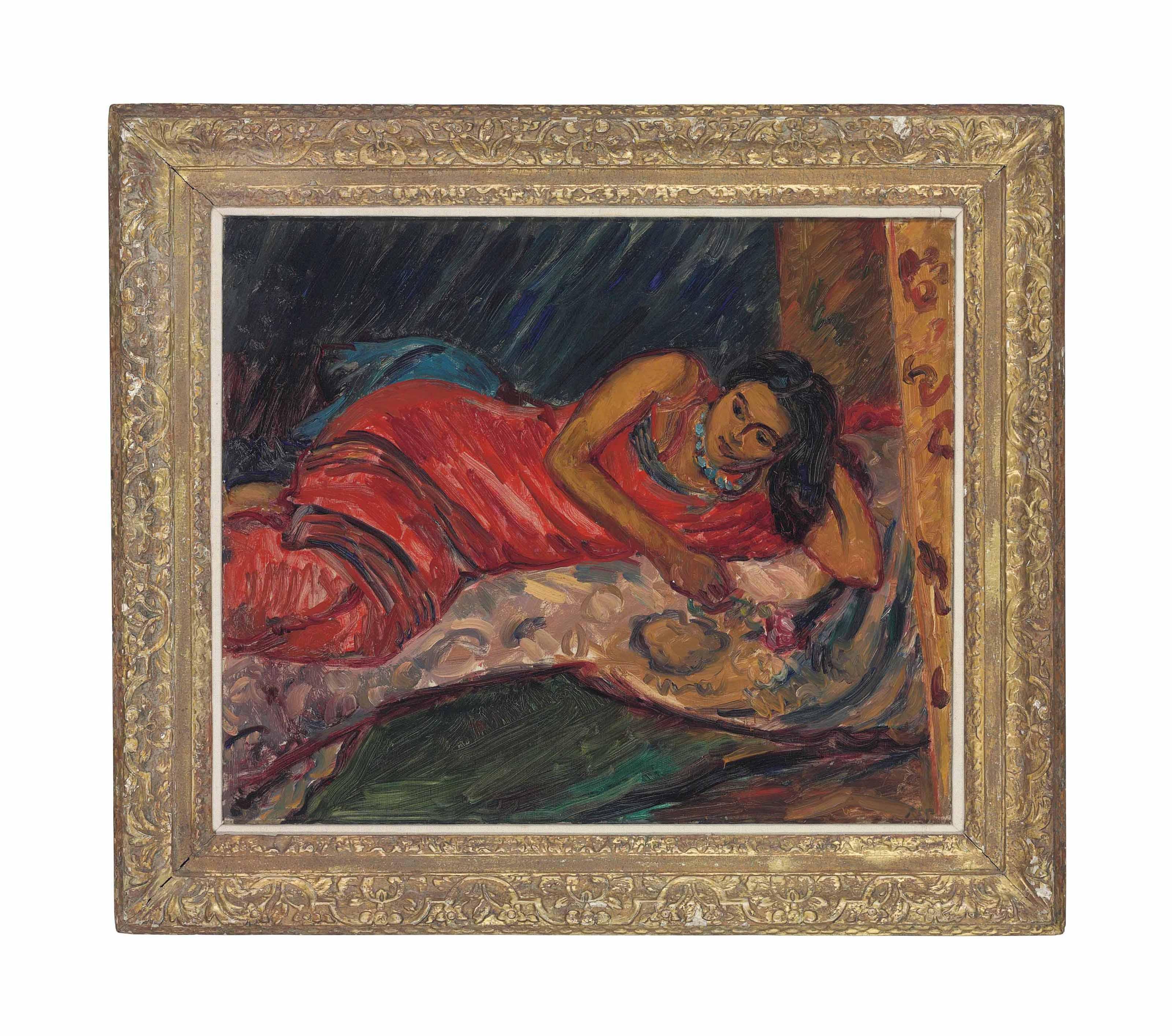 The Red Sari, Sunita Reclining