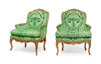 A PAIR OF LOUIS XV CARVED BEECH BERGERES