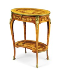 A LATE LOUIS XV ORMOLU-MOUNTED AMARANTH, TULIPWOOD, SYCAMORE MARQUETRY TABLE A ECRIRE